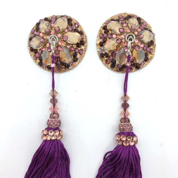 Swarovski Golden Aubergine Rhinestone Burlesque Pasties with Beaded Fringe Tassels