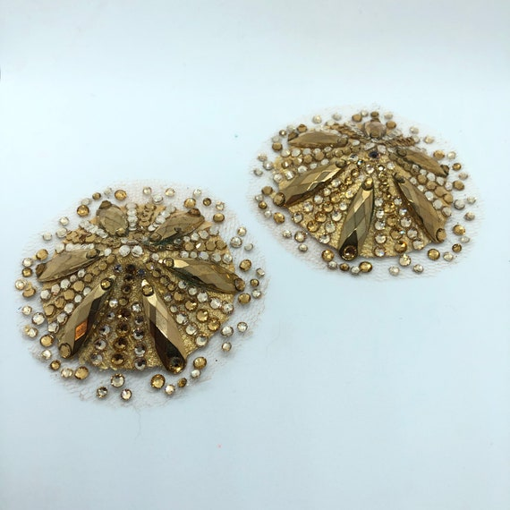 Golden Glam Crystal Rhinestone Burlesque Pasties with Illusion mesh