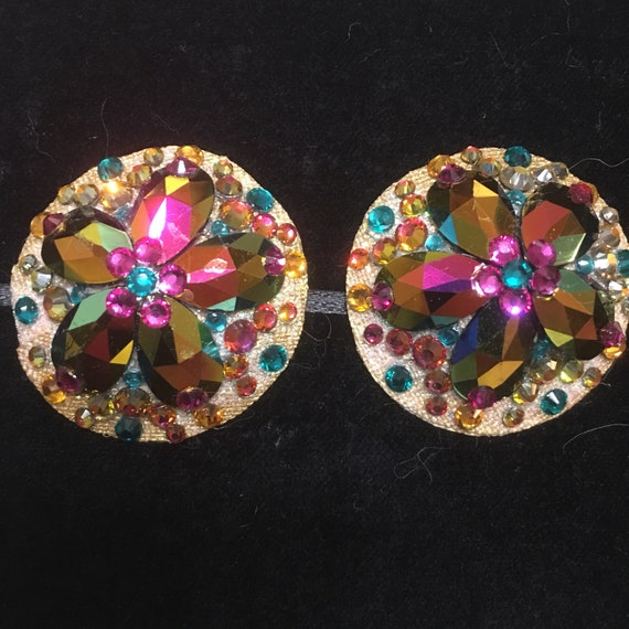 Golden Rose Rhinestone Burlesque Pasties