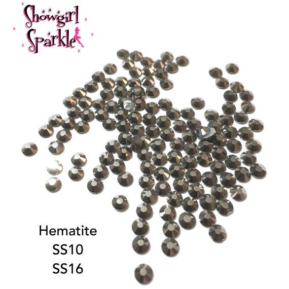 Hematite Flatback Glass Rhinestones, 1 gross (144 stones) Non-hotfix, in sizes SS10 and SS16
