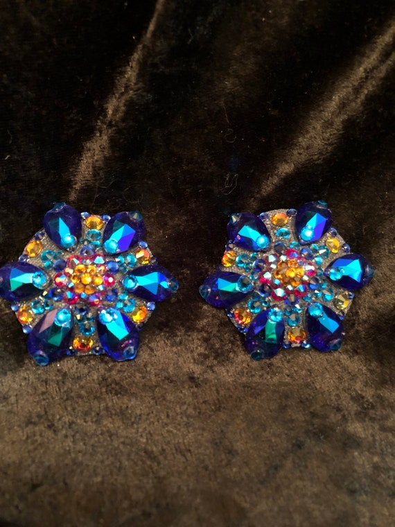 Blue Starlight Crystal Rhinestone Burlesque Pasties
