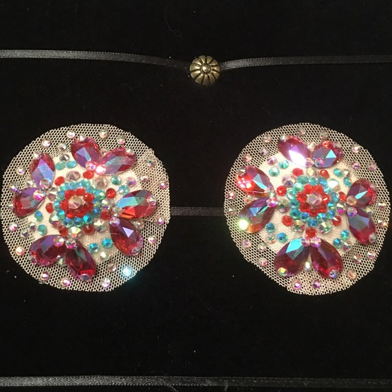 Aquamarine, Hyacinth and Rose AB Rhinestone Illusion Burlesque Pasties