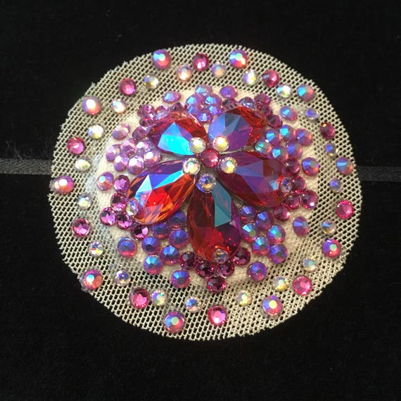 Rose Champagne Crystal Rhinestone Illusion Burlesque Pasties