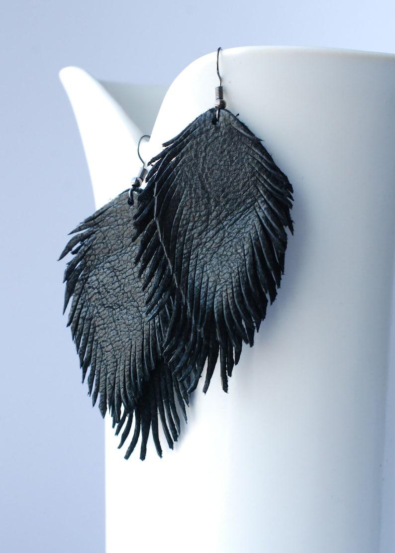 Leather Feather Earrings Dangle Earrings Feather Earrings Boho Chic Earrings Suede Earrings Recycled Earrings Black Earrings