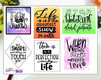 Motivational Sticker-Schriftzug und Zitate-fröhlich und bunt