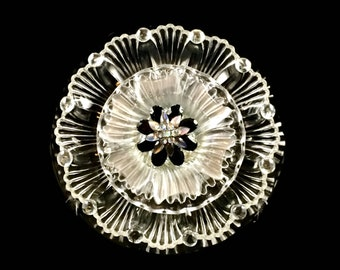 "Glass Plate Flower, EBONY, ""BLACK-CLEAR"" Garden Sculpture, Yard Art, 10"" Suncatcher"