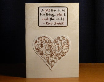"""Coco Chanel """"A girl should be"""" greeting card/notecard"""