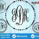 Arrows and Circles Monogram Frame Set 01 - Arrow Circle SVG Cut File, DXF, Png, Eps, Pdf, Ai, Cricut, Silhouette Studio