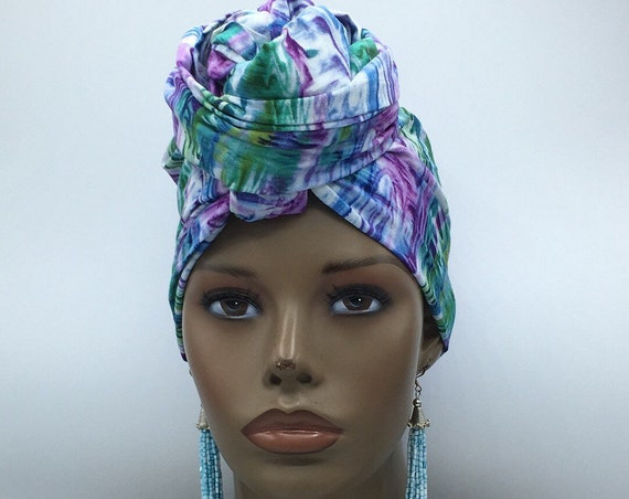 Blue & Green Premium Cotton Head Wrap