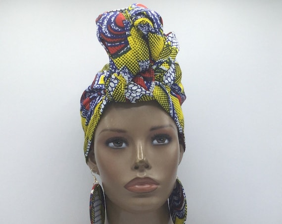 African Head Wrap - Yellow & Red Head Wrap - African Turban - African Wrap - Multicolor  - Turban - Head Tie - Wraps - Hijab