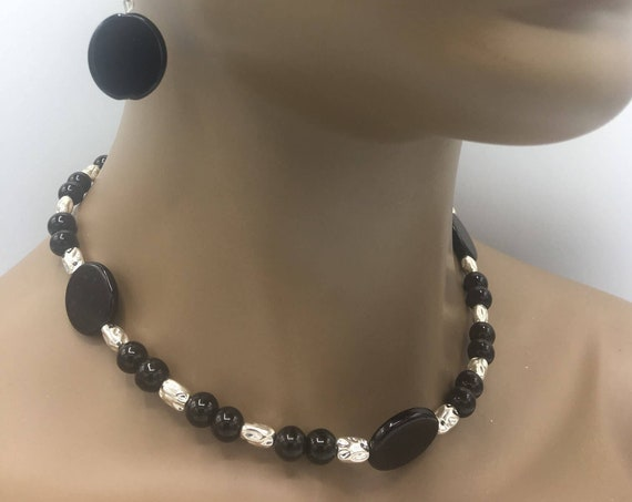 Black & Silver Beaded Jewelry Set