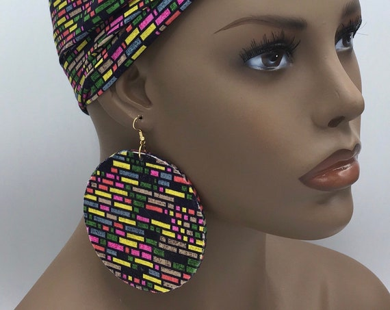 African Earrings - Black & White - Ankara Earrings - Big Earrings - African Jewelry - Ankara  - Big African Earrings - Large Earrings