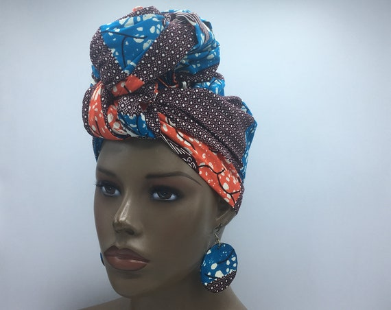 Blue, Orange with burgundy African Head Wrap