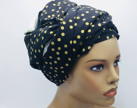 Black and Gold With Polka Dot Head Wrap.
