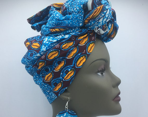 Blue Head Wrap - African Scarf - African Turban - African Head Wrap - Ankara Head Wrap - Wax Turban - Fashion Turban - Hijab