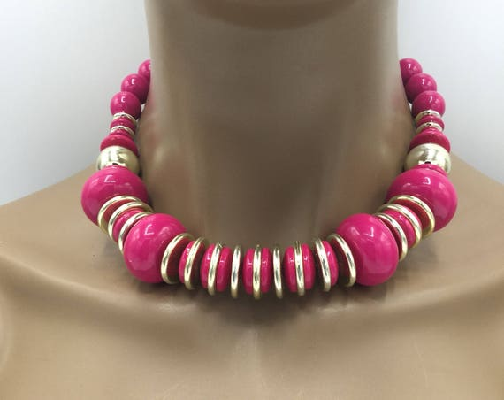 Pink Beaded Necklace - Gold and Pink Beaded Necklace - Statement Necklace - Gift For Her - Jewelry For Her