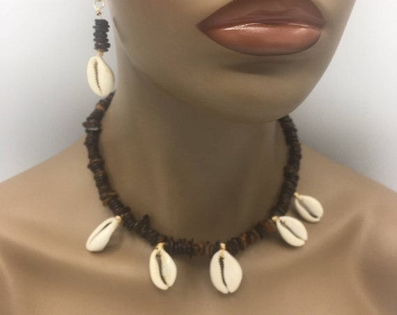 Bits Tiger Eye with Cowrie Shell Choker