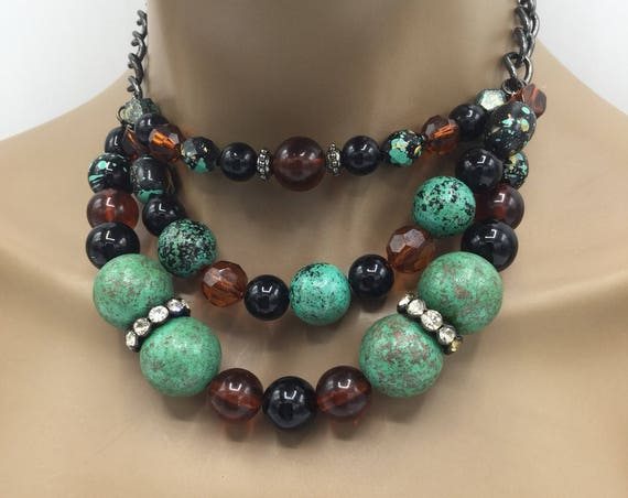 Brown Multi Strand Beaded Necklace - Brown 3-Layered Beaded Necklace - Statement Necklace - Gift For Her - Jewelry For Her