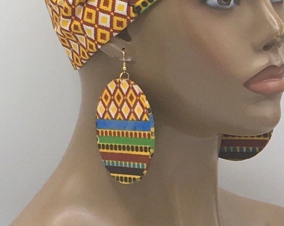 African Earrings - Ankara Earrings - Fabric Earrings - African Jewelry - Kente Print - Big African Earrings - Large Earrings - Big Earrings