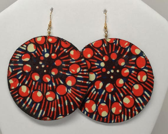 African  Earrings - Ankara Earrings - 2-Sided - Wax  Earrings - African Jewelry - Ankara  Earrings - Big African Earrings