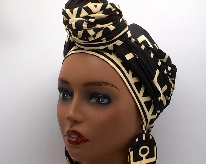 Featured listing image: Black & Beige African Mud Cloth Head Wrap