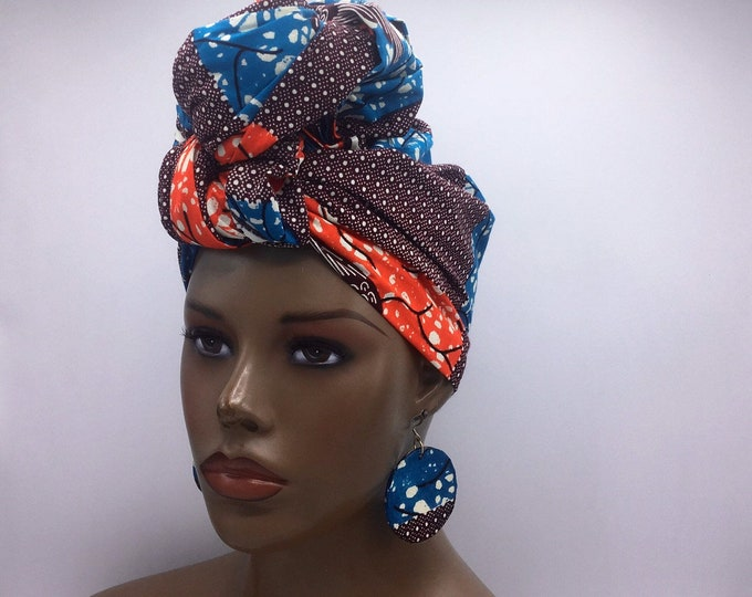 Featured listing image: Blue, Orange with burgundy African Head Wrap