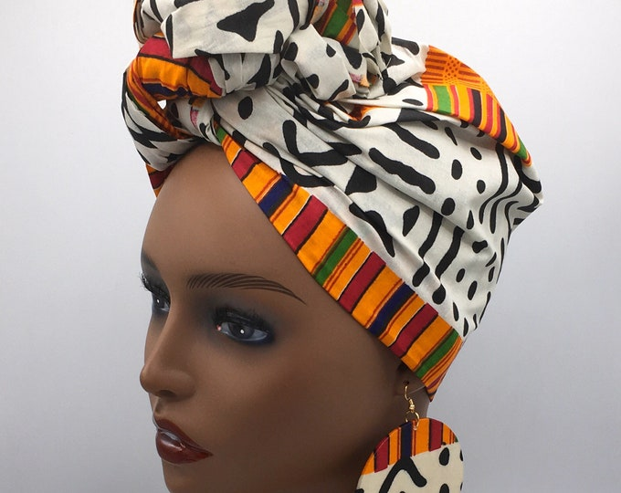 Featured listing image: Orange Kente Print Head Wrap