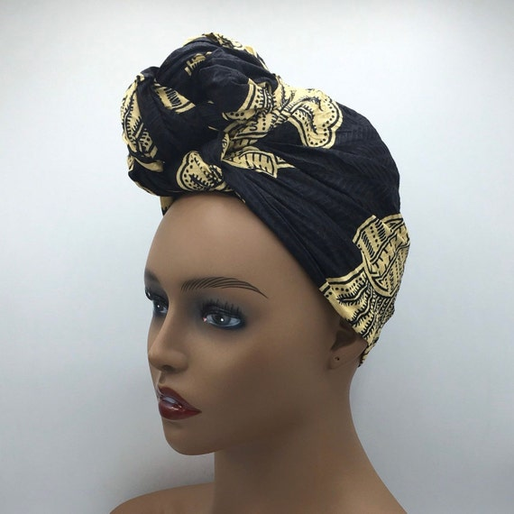 Black Head Wrap - African Head Wrap - Black Scarf - African Turban  - Cloth Turban - Fashion Turban - Black Turban - Hijab - Chemo - Cancer