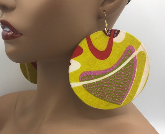 African Earrings - Green & Pink - Ankara Earrings - Big Earrings - African Jewelry - Ankara  - Big African Earrings - Large Earrings