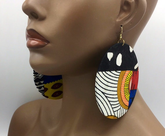 Huge Earrings - Fabric Earrings - Ethnic Earrings - Afrocentric Fabric Earrings - Big Earrings - Large Earrings - Fabric Earrings