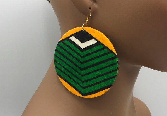 """Green and Gold 3"""" Earrings"""