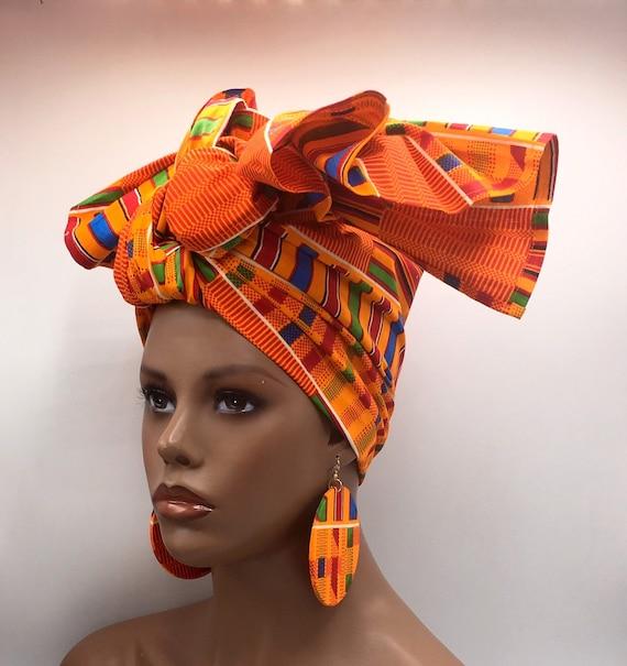Kente Head Wrap - African Scarf - African Turban - Fashion Turban - Kente  Turban - Kente Turban - Chemo - Cancer - Matching Earrings