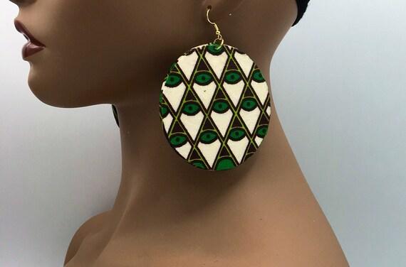 African Earrings - Ankara Earrings  - Wax Earrings - Big Earrings - Fabric Earrings - Big African Earrings - Large Earrings - Big Earrings