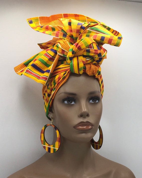 Kente Head Wrap - African Scarf - African Turban - Fashion Turban - Kente Turban - Kente Turban - Chemo - Cancer - Matching Earrings