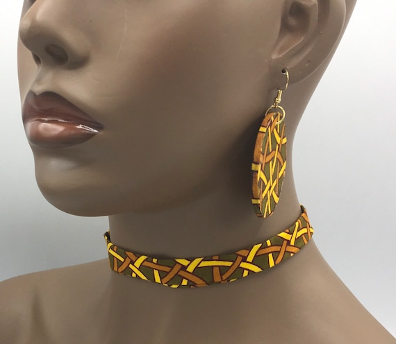 African Ribbon Choker, Fabric Ribbon Necklace, Fabric Necklace, Ankara Necklace, Ribbon Necklace, African Necklace