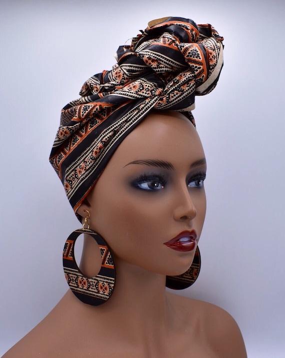 Brown & Black African Head Wrap