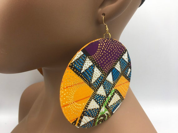 African Print Earrings - African Earrings - Ankara Earrings - Wax Earrings - Ankara Earrings - Big Earrings - Large Earrings - Fabric Earri
