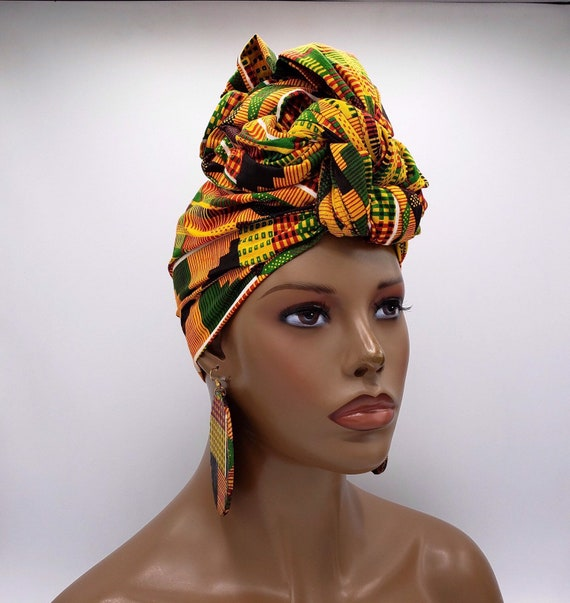 Kente Print African Head Wrap