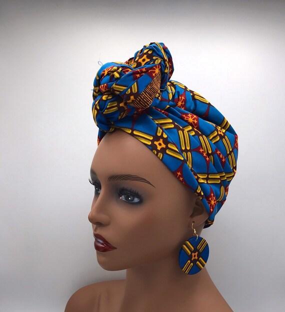 Blue Head Wrap - African Head Wrap - Purple Scarf - African Turban  - Fashion Turban - Hijab - Chemo Wrap - Caner