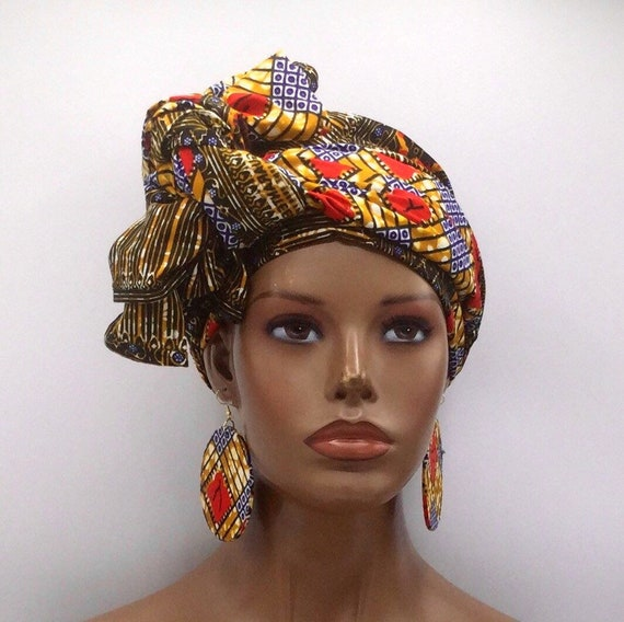 African Head Wrap - African Scarf - African Turban - African Wrap - Ankara Head Wrap - Scarf - Wax Turban - Head Tie
