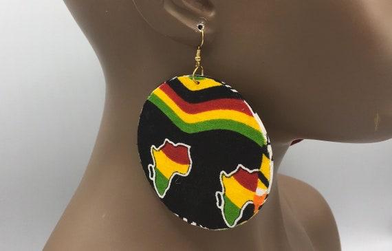 African  Earrings - Ankara Earrings - 2-Sided - Wax  Earrings - African Jewelry - Ankara  Earrings - Big African Earrings