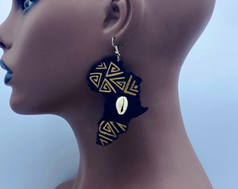 Map of Africa Wooden Earrings with Cowry - Laser Cut Wood Earrings - Afrocentric Earrings - Afro Earrings - Large - Lazer Cut | Nubian Grace