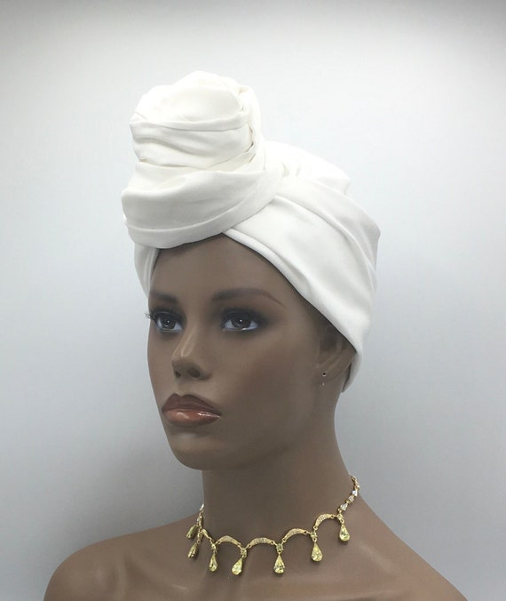 White Head Wrap - African Head Wrap - White Scarf - African Turban  - Cloth Turban - Fashion Turban - White Turban