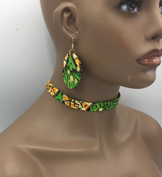 Green Ribbon Choker, Fabric Ribbon Necklace, Fabric Necklace, Ankara Necklace, Ribbon Necklace, African Necklace
