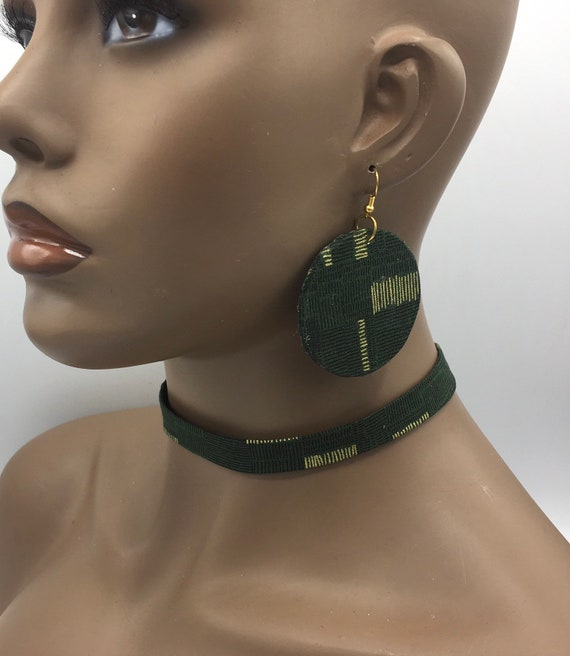Green & Gold Ribbon Choker, Fabric Ribbon Necklace, Fabric Necklace, Ankara Necklace, Ribbon Necklace, African Necklace