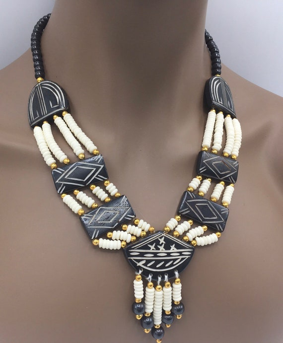 African Jewelry - Beaded Necklace - Tribal Necklace - African Necklace - Beaded Bib Necklace