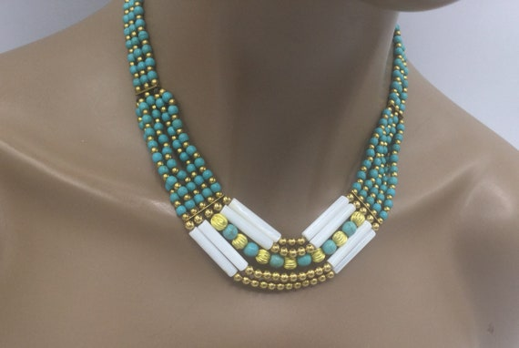 Turquoise Necklace - Bib Necklace - Boho Necklace - Choker
