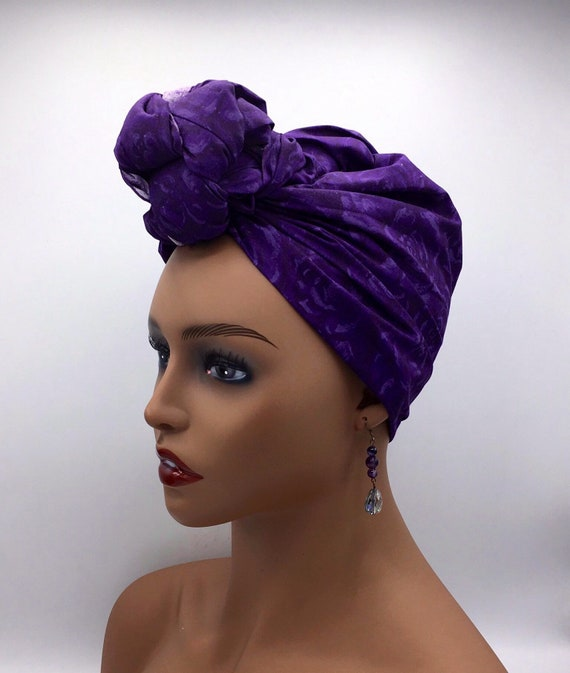 Purple Head Wrap - African Head Wrap - Purple Head Scarf - African Turban  - Fashion Turban - Afrocentric - Purple Turban - Hijab