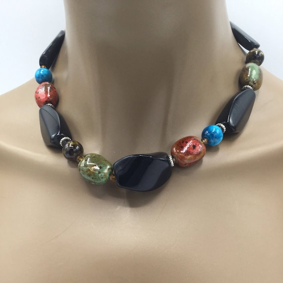 Colorful Beaded Jewelry Necklace - Beaded Necklace - Beaded - Green - Brown - Blue - Black