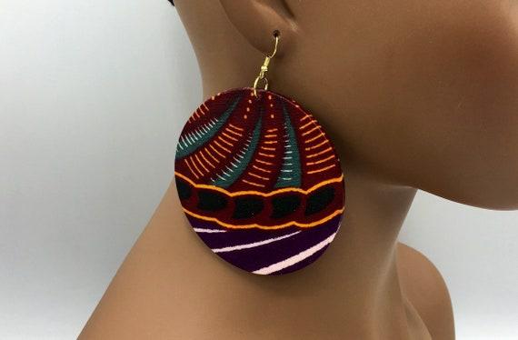 African Earring - Ankara Earrings - Wax  Earrings - Ankara  Earrings - Big African Earrings - Large Earrings - Big Earrings - Fabric Earring